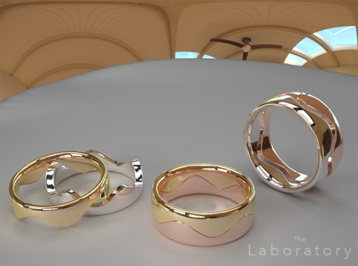 Wave Ring (Top) 3d printed 14K Gold, White Gold, & Rose Gold (or plated varieties)