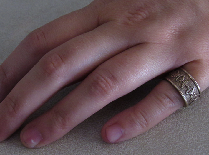 """""""Live Long & Prosper"""" Ring - Embossed Style 3d printed Pictured: Stainless Steel"""