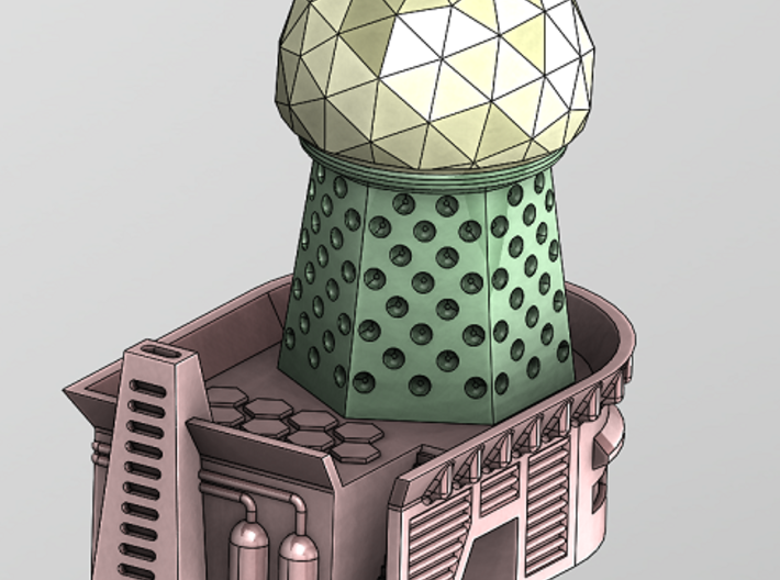 RadarTower - Plinth1 3d printed Full Building with Geo-Dome