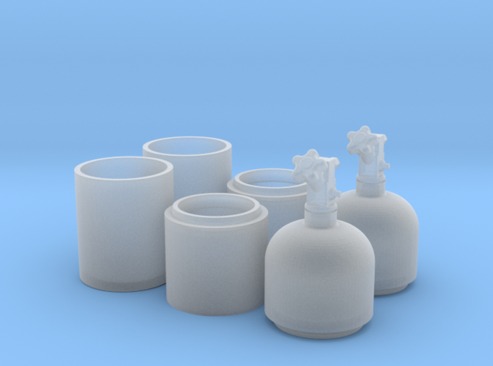 1/18 One Pair of Nitrous Bottles with Valves 3d printed
