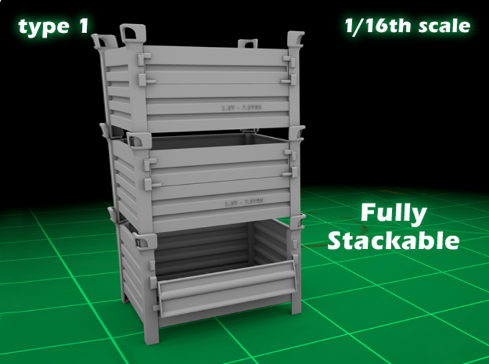 Stackable container type-1 (1x - 1/16) 3d printed