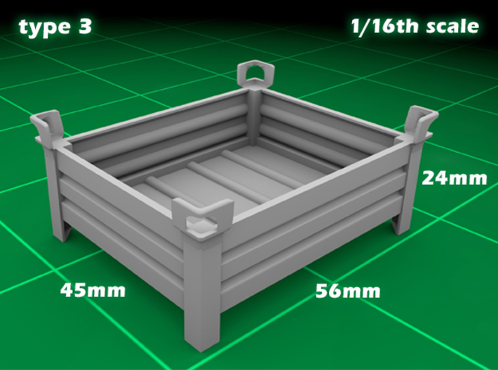Stakable Container type 3 (1x - 1/16) 3d printed