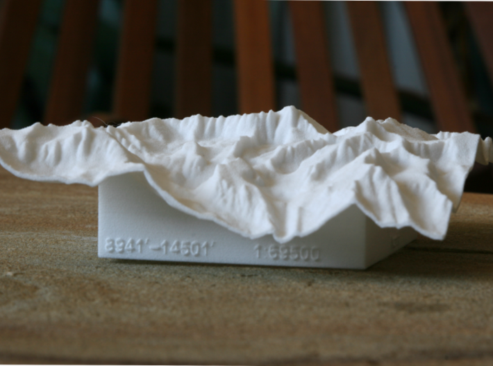 "4'' Mt. Whitney Terrain Model, California, USA 3d printed Photo of 4"" model, looking up the West valley"