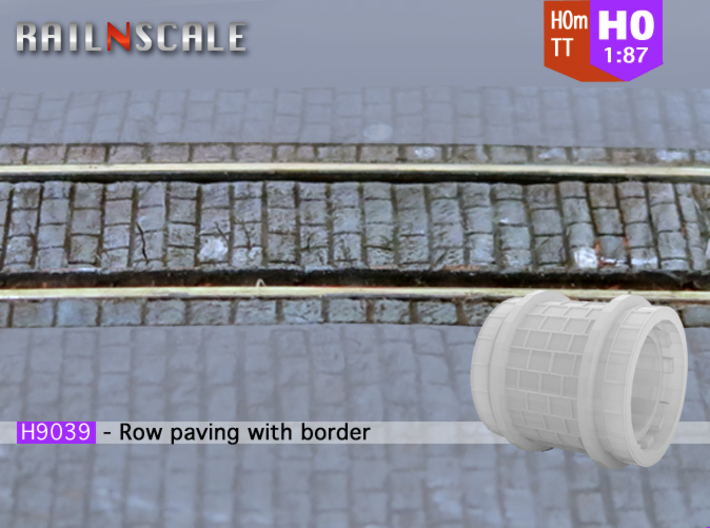 Row paving with border (H0m) 3d printed