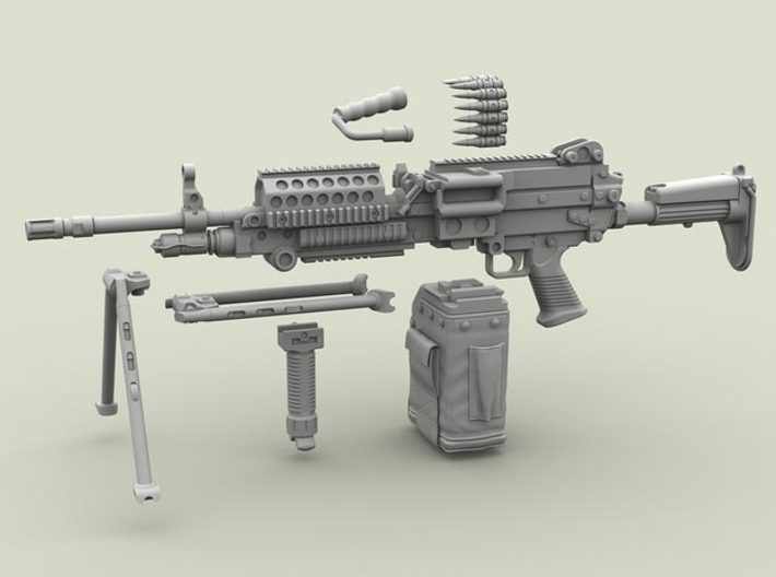 1/32 SPM-32-004 m249 MK48mod0 7,62mm machine gun 3d printed