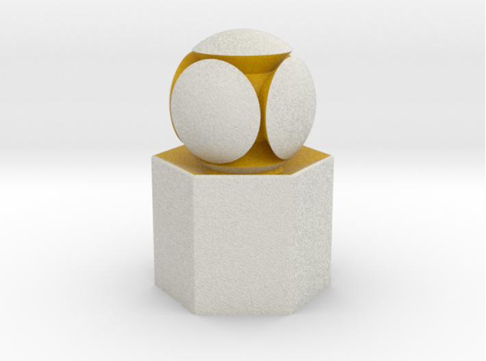 LuminOrb 2.4 - GENEROSITY 3d printed Shapeways render of GENEROSITY on a matching color Column Display Stand (optional)