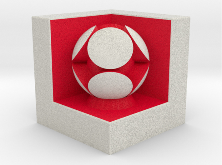 LuminOrb 1.1 - LOVE 3d printed Shapeways render of LOVE on a matching color Cube Display Stand (optional)