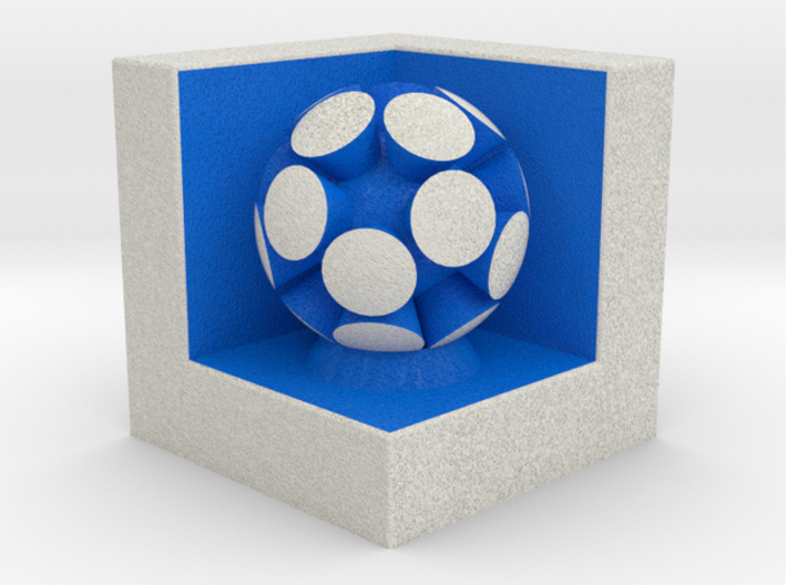 LuminOrb 2.8 - CURIOSITY 3d printed Shapeways render of CURIOSITY on a matching color Cube Display Stand (optional)