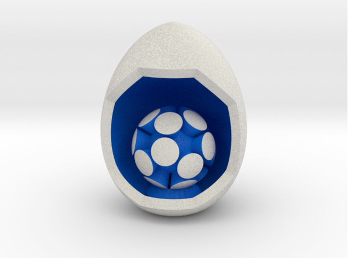 LuminOrb 2.8 - CURIOSITY 3d printed Shapeways render of CURIOSITY on a matching color Egg Display Stand (optional)