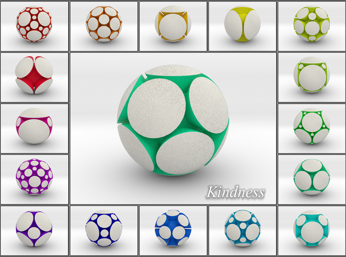 LuminOrb 1.5 - KINDNESS 3d printed Shapeways Render of KINDNESS among LuminOrb Series I and II