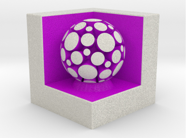 LuminOrb 1.6 - PASSION 3d printed Shapeways render of PASSION on a matching color Cube Display Stand (optional)