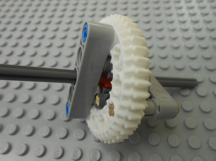 LEGO®-compatible z44 bevel gear w/ z24 inner ring 3d printed epicyclic gearing housed inside the ring