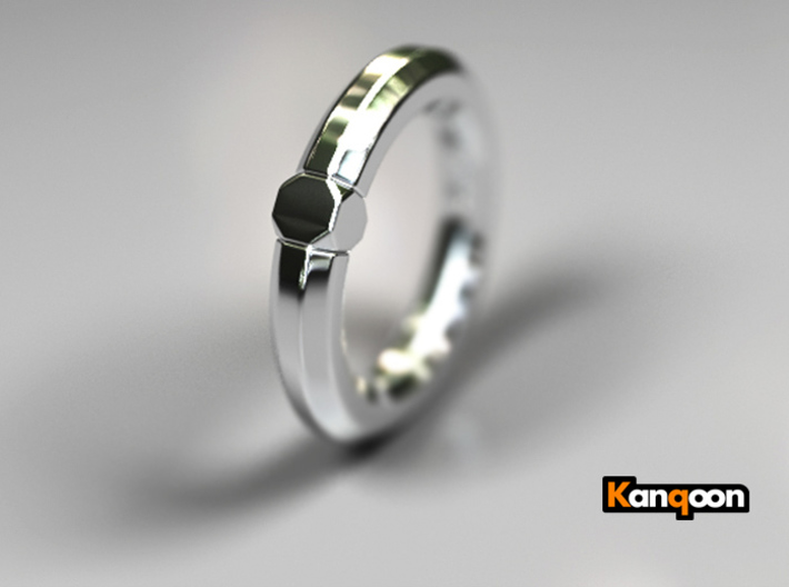 Octavius Ochuko - Ring - US 6.75 - 17.12 mm 3d printed Polished Silver PREVIEW