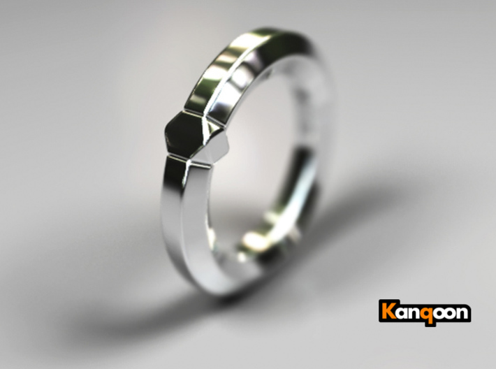 Hea - Ring - US 6.75 - 17.12 mm 3d printed Polished Silver PREVIEW
