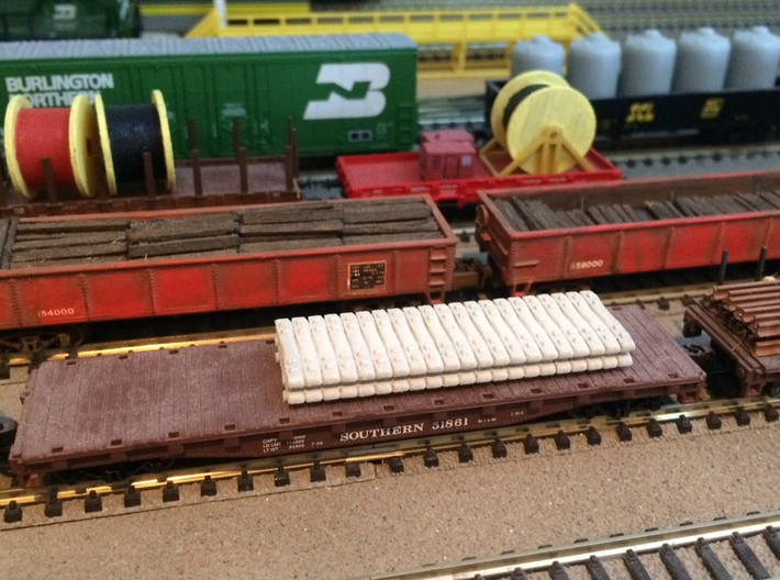 N Scale Concrete Ties Load Single 3d printed Painted double stack of concrete ties.