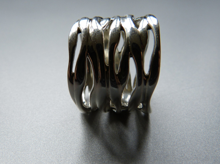 BASHIBA RAW WAVES (16.5 mm) 3d printed Premium Silver