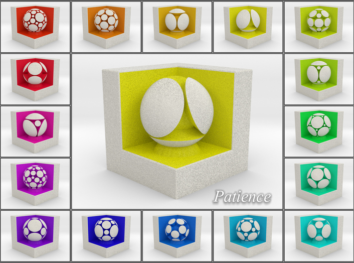LuminOrb 1.7 - Cube Stand 3d printed Shapeways Render of Cube Display Stands with PATIENCE amongst LuminOrb Series I and II