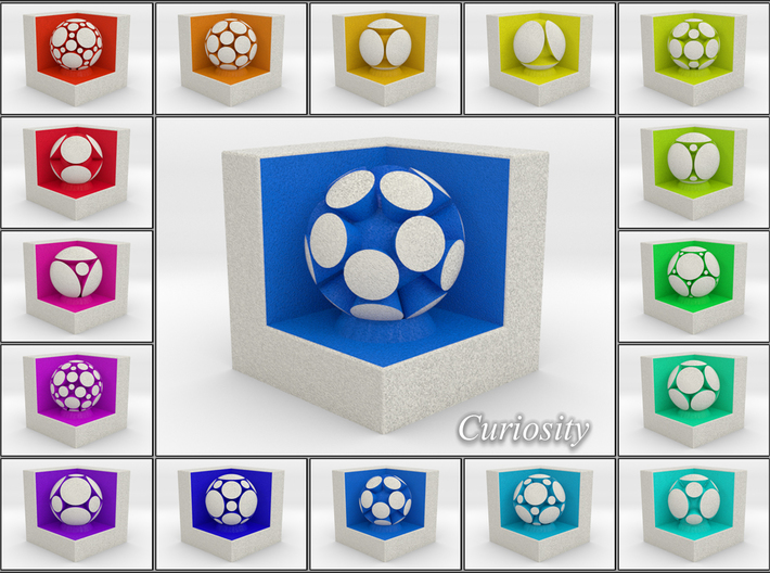 LuminOrb 2.8 -  Cube Stand 3d printed Shapeways Render of Cube Display Stands with CURIOSITY amongst LuminOrb Series I and II