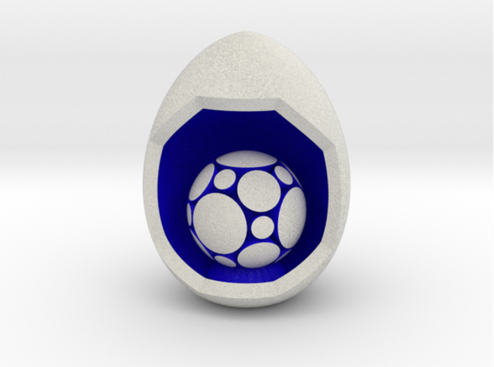 LuminOrb 1.3 - Egg Stand 3d printed Shapeways render of Egg Display Stand with COMPASSION in Full Color Sandstone