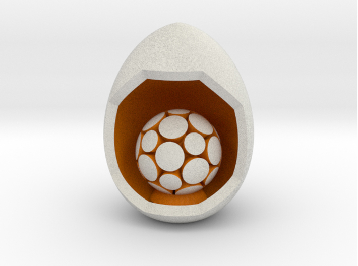 LuminOrb 1.4 - Egg Stand 3d printed Shapeways render of Egg Display Stand with NURTURE in Full Color Sandstone