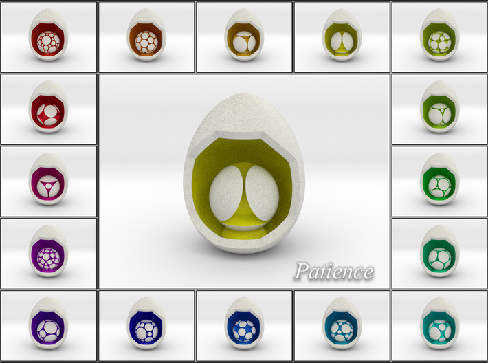LuminOrb 1.7 - Egg Stand 3d printed Shapeways Render of Egg Display Stands with PATIENCE amongst LuminOrb Series I and II