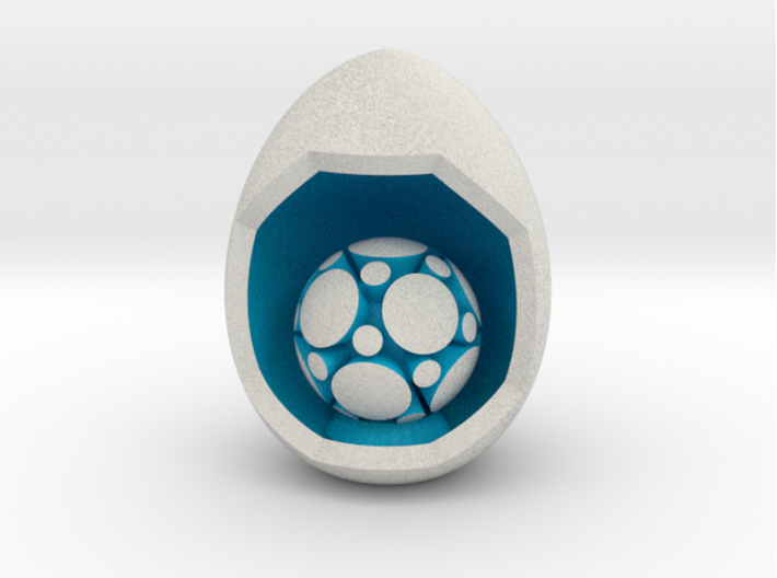 LuminOrb 1.8 - Egg Stand 3d printed Shapeways render of Egg Display Stand with MINDFULNESS in Full Color Sandstone