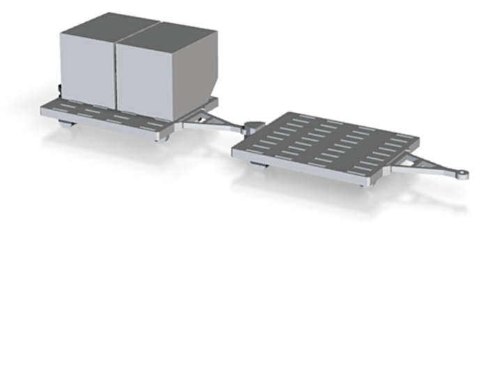 GSE Airport Baggage Container Cart 1:200 (9pc) 3d printed Render of two carts with containers, containers available separately