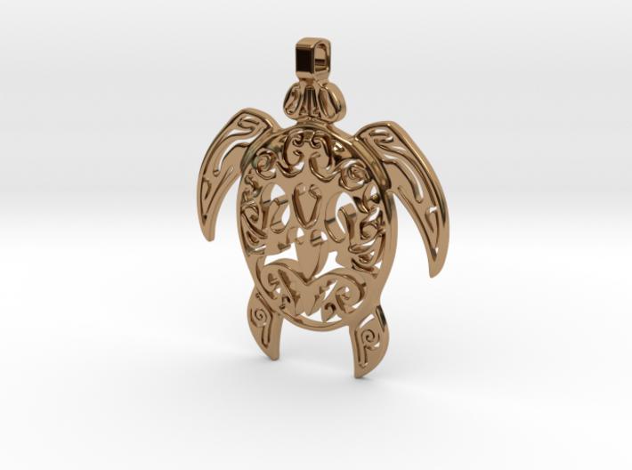 Pendant Turtle Tribal Pattern 002 - MCDStudios 3d printed