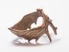 (Size 13) Moose Antler Ring 3d printed Polished Bronze Steel