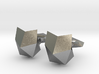Faceted Cat Face Cufflink 3d printed