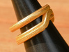 Balem's Ring1 - US-Size 4 (14.86 mm) 3d printed Ring 1 in polished gold steel (shown: size 6 1/2)