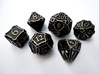 Large Dice Set 3d printed In stainless steel and inked