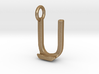 Two way letter pendant - JU UJ 3d printed