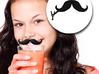 Mustache Drink ID Clip - Droopy Handlebar Style (P 3d printed Clip it to Your Drink and Never Lose It Again!