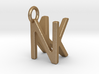 Two way letter pendant - KN NK 3d printed