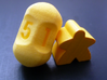 Five sided roller dice 3d printed World's strongest yellow meeple not included.
