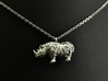 The Rhino Pendant  3d printed Rhino pendant 3D printed in Polished Silver