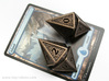 Hedron D10 Spindown Life Counter - HOLLOW DIE 3d printed Two polished bronze versions with a Magic card for scale