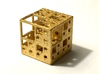 NewMenger - small fractal sculpture 3d printed Polished Gold Steel