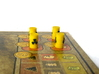 Power Grid Yellow Uranium Barrels, Set of 12 3d printed A closer shot of the barrels on game board