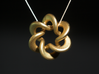 Flared Circular Double Helix Pendant 3d printed Gold Platted Matte