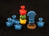Mayan tech/temple & score tokens (8 pcs) 3d printed Hand-painted White Strong Flexible Polished.