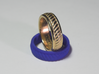 Twist Band Ring - 9½ 3d printed Gold Plated Stainless Steel & Blue Plastic