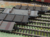 Rectank ex WD with low bolsters 3d printed Low Bolsters wagon is second from the front