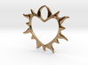 Eternal love 3d printed heart in flames - brass