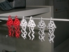 Earrings Dew Bell  3d printed Coral, white and alumide.