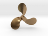 "Propeller, 2.5"" RH, for 1:8 scale Monterey Clipper 3d printed Shapeways render of the model (brass)"