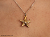Stylised Sea Star Pendant 3d printed Raw Brass pendant - showing chain with ring (not sold with product)