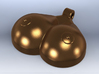 Breasts-shaped keychain/pendant 3d printed 3D render bronze