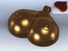 Breasts-shaped keychain/pendant 3d printed 3D render bronze (front) red plastic (back)